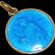 1930's Blue Enameled St Barbara Virgin Martyr Religious Pendant Sainte Barbe