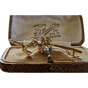 STORE WIDE 15k Gold Turquoise Seed-Pearl Gemstone 'Half Wishbone' Bar Brooch