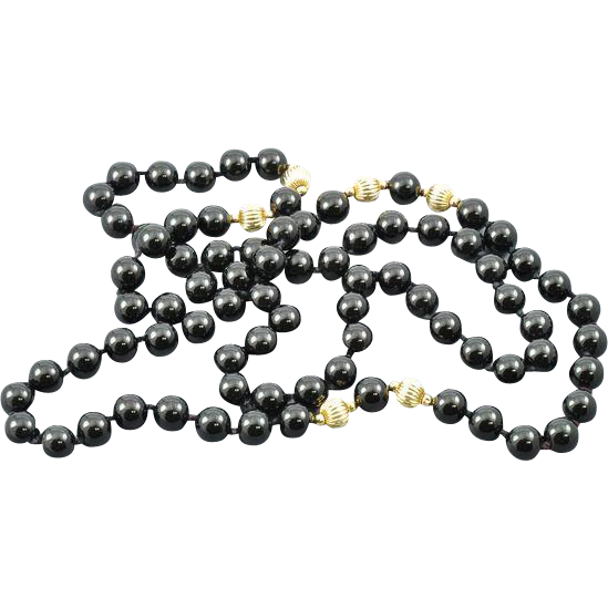 "40% OFF 14K Black Onyx Beaded 32"" Necklace"