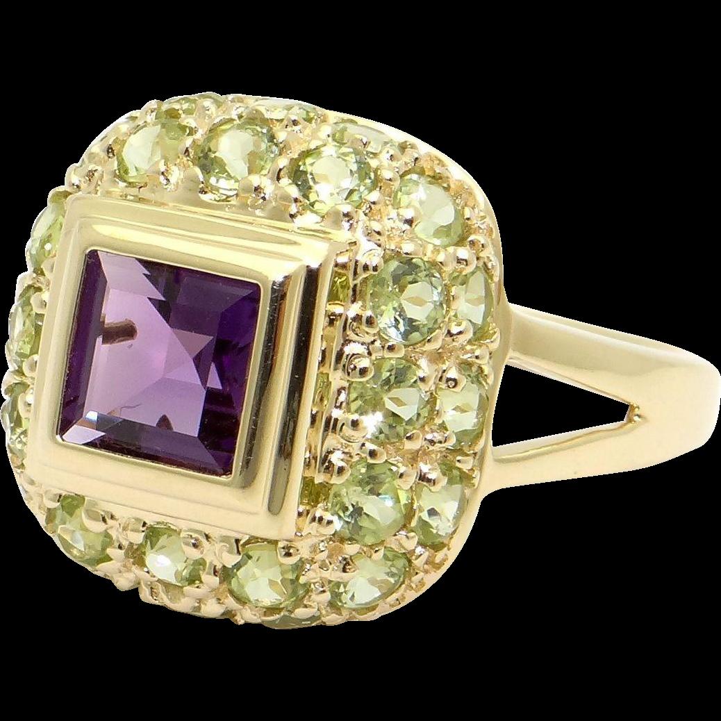 14k princess cut amethyst peridot cocktail ring from