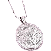 Quality Sterling Engraved Vintage Locket chain