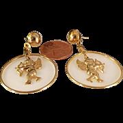 Vintage Angel Hoop Gold Tone earrings