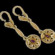 """Art Nouveau 18k 2"""" drop dangle Earrings"""
