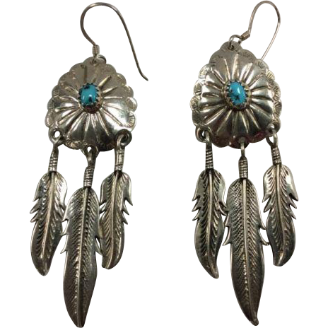 45% OFF Sterling Turquoise Vintage Earrings