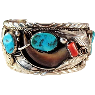 Vintage Navajo Mike Thomas Jr. Sterling Turquoise Coral Cuff Bracelet