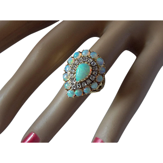 Mid Century Casbah 18k Opal and Diamond Ring