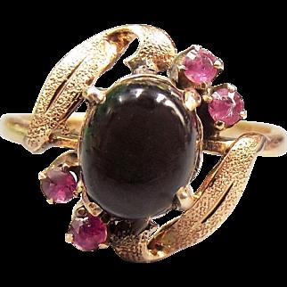 14K 20pt Natural Black Ruby Star Sapphire Ring