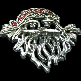 Vintage Silver enamel Santa Claus Brooch