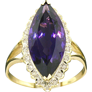 14k Amethyst Ring with Diamond Halo