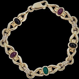 14k Ruby Emerald Sapphire Bracelet