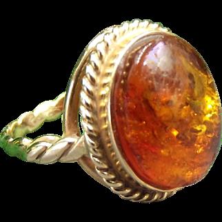 14k Vintage Baltic Amber Ring