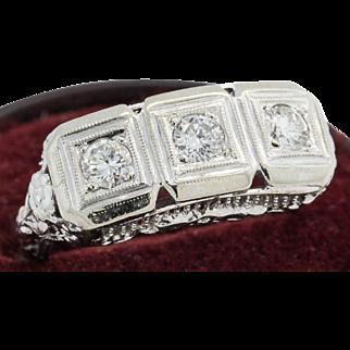 Art Deco 14k .75 ctw Diamond Filigree Ring