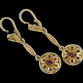 """18k Art Nouveau 2"""" drop dangle Earrings"""