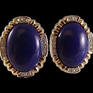 14K Lapis Lazuli Diamond Pierced Earrings