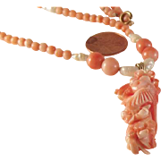 STORE WIDE SALE 14k gold Angel Skin Coral bead necklace with carved pendant