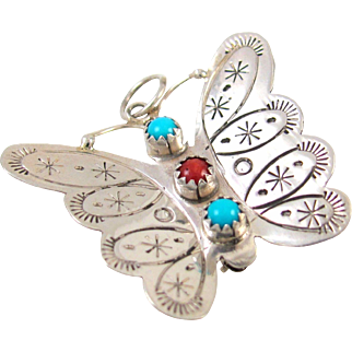 Navajo Sterling Silver Turquoise Coral Butterfly Pin Pendant JOHNNY JOHNSON