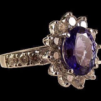 14kt 'Princess Di' 6 carat Tanzanite & Diamond Appraised Ring