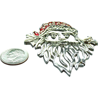STOREWIDE CLEARANCE Vintage Silver enamel Santa Claus Brooch