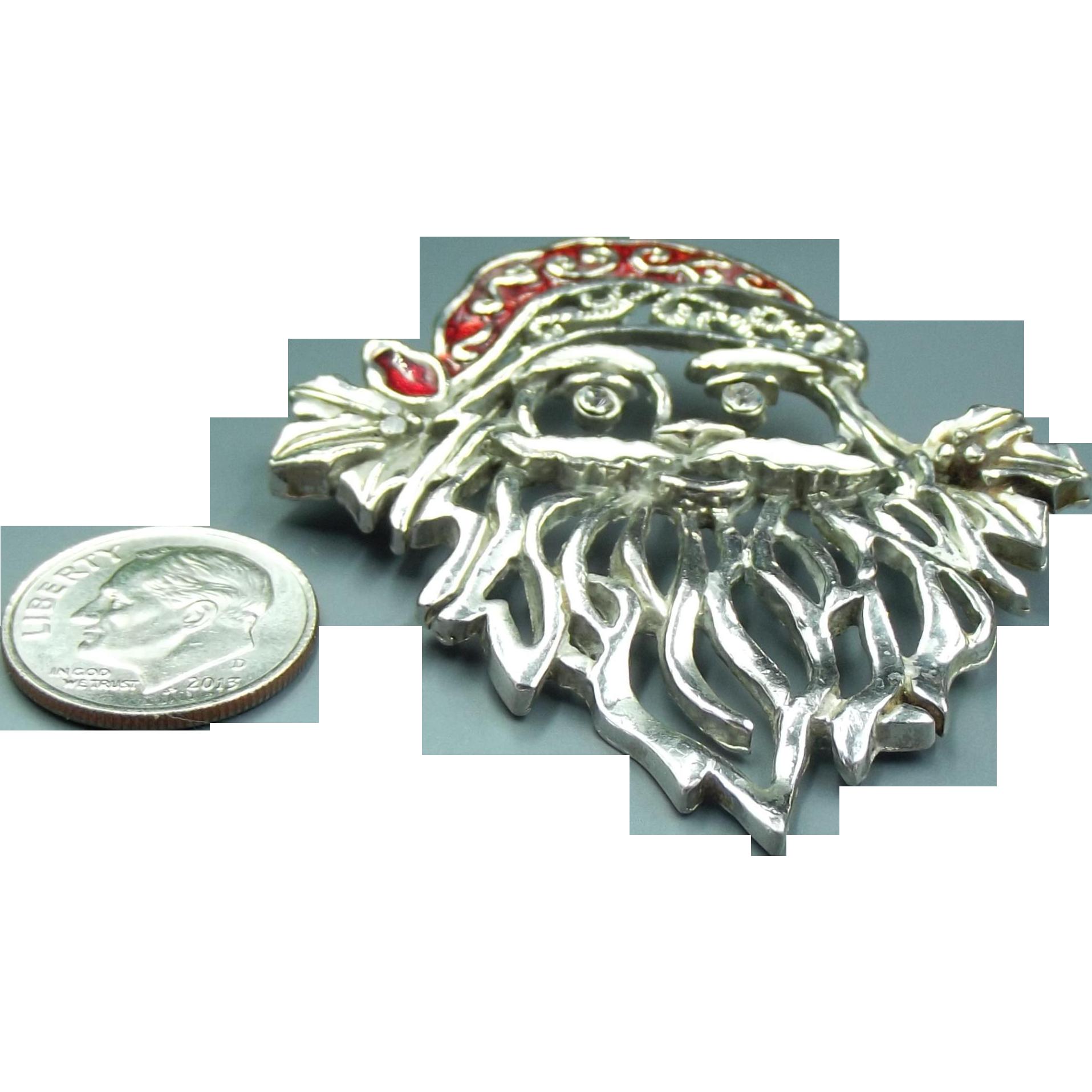 Vintage silver enamel santa claus brooch from jojosgems on