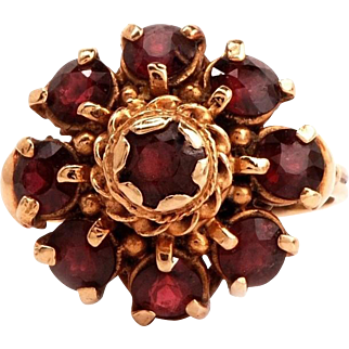 14K Round Cut Garnets Dome Cluster Ring