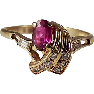14k untreated Ruby/VS Diamond Ring with appraisal