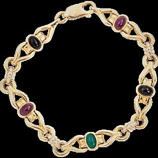 STORE WIDE SALE 14k Ruby Emerald Sapphire Bracelet