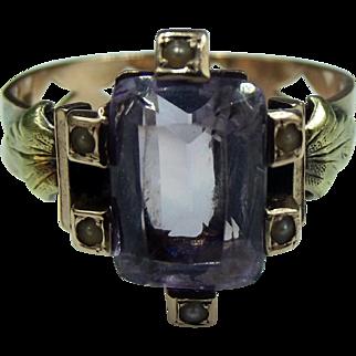 Victorian 14k Rose De France Amethyst Pearl Ring