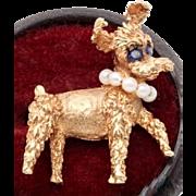 14k Sapphire Pearl Schnauzer Dog Brooch Pin