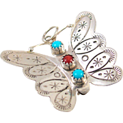 Navajo JOHNNY JOHNSON Sterling Silver Turquoise Coral Butterfly Pin Pendant