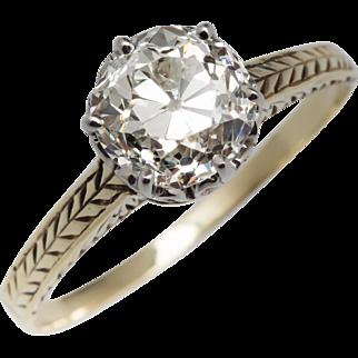 Victorian 1.5 Carat Old Mine Cut Diamond Engagement Ring