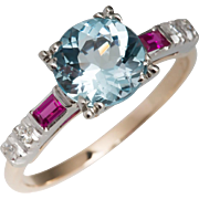 14k Aquamarine Ruby Diamond Vintage Ring
