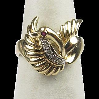 Unique 14K Gold Swan Ring Sz 5.5