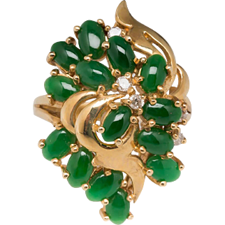 Untreated A-Jade Diamond Cocktail 14k Ring