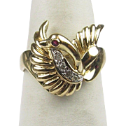 40% OFF  Unique 14K Gold Swan Ring Sz 5.5
