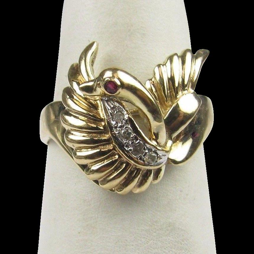 40% OFF  Unique 14K Gold Swan Ring Sz 5.5