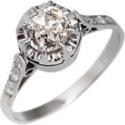 Platinum Edwardian 1.17 carat Old Mine Cut Diamond Engagement Ring