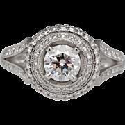 GIA Platinum 1.40 carats Diamond Double Halo Engagement Ring