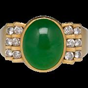 18k untreated Jade/Jadeite A Diamond Ring