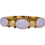 18k Untreated Lavender Jade Diamond Bracelet