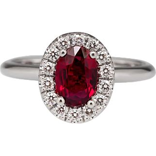 18K Natural Red Ruby Diamond Ring