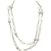 "63% OFF  Sterling Silver Gold Vermeil 36"" Long Pearl & Chain Necklace"