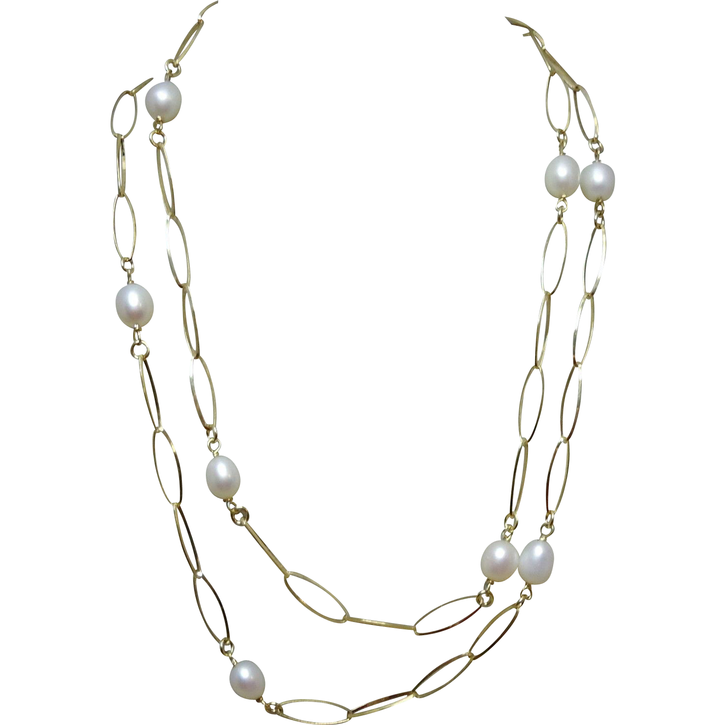 """63% OFF  Sterling Silver Gold Vermeil 36"""" Long Pearl & Chain Necklace"""