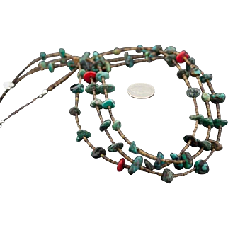 Native American Triple Strand Turquoise Coral and Heishi Necklace
