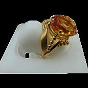 Heavy 14K Citrine Vintage Ring Sz 6