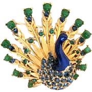 40% OFF  Iconic BOUCHER Signed Peacock Enamel Brooch Book Piece