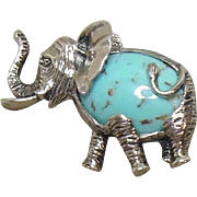 BEAU Sterling Silver Turquoise Elephant Brooch