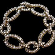 70% OFF Vintage MONET Gold-tone Rhinestone Oval Link Bracelet
