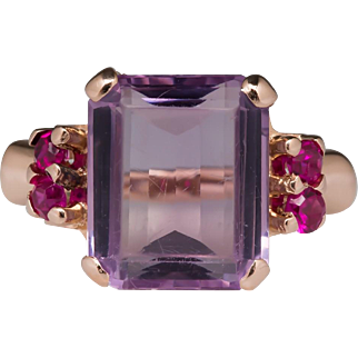 Retro 14K Rose Gold Amethyst & Created Ruby Ring