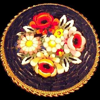 Vintage Floral Micro-mosaic Brooch