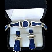 Lapis Lazuli 950 Silver Bracelet with Matching Pierced Earrings